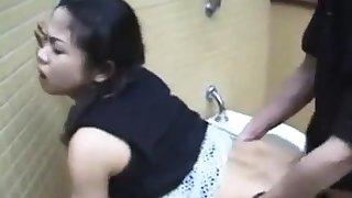 Amateur Asian teen prop public restroom