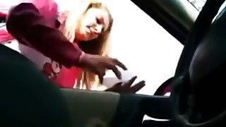 Handjob Through The Car Window-pane