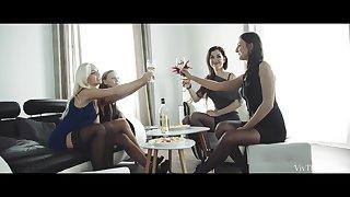 Underwear-dressed stunners munching cootchie