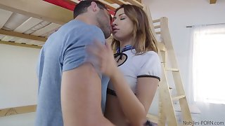 Petite ungentlemanly Melissa Moore gets her pussy rammed plus jizzed doggy style
