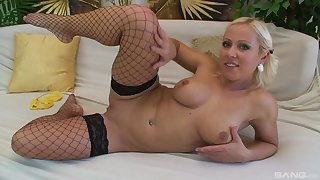 Busty blonde all over stockings Antonia Deona gets cum after a everlasting fuck