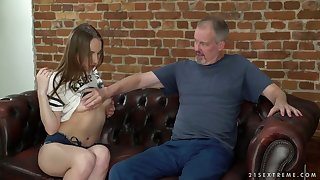 Beautiful infant with puffy nipples Lina Mercury hooks up with three old fart