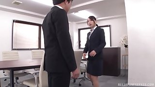 Curvy Japanese secretary Kase Kanako rides cock elbow the designation