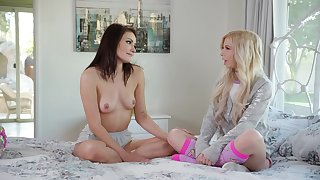 Adria Rae lifts up her legs to get debilitated by lesbian Kenzie Reeves