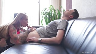 Hardcore deepthroat and face fuck session with grown up Calisi Ink
