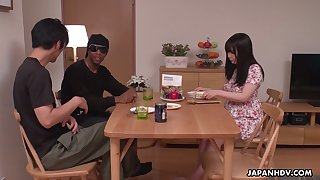 Kinky Satomi Nagase is more than happy to fingerfuck her stained Asian pussy