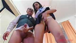 Teen in all directions a miniskirt Francys Dreamboat sucks and rides dick POV