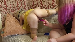 Lesbians tried new sex toys and fucked shaved pussy in her girlfriend in early pregnancy.