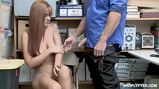 Tattooed Scarlett Mae gets bent over and fucked by the brush boss