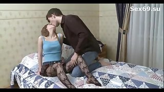 Youthfull stunner in mesh pantyhose and her insane step step-brother are keen in his smallish chamber