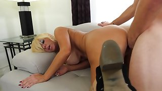 Tanned granny rides young locate and moans of admiration