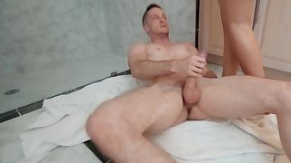 Hot Spanish tow-haired thanks plumber by horseshit riding in the bathroom