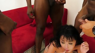 Japanese MILF's mouth with the addition of anus are ready for black cocks invasion