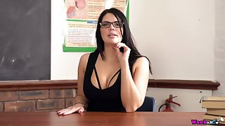 Powered nerdy busty lady Kylie K desires to personate with a dildo at work