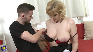 Sandra G. strips in all directions get their way mature shaved pussy pounded hardcore