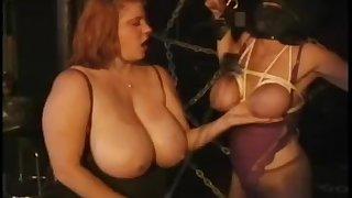 Masked slavegirl bound hard by lardy mistress