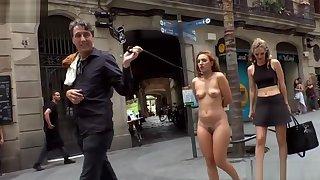 Spanish slave in the sky leash in public