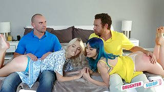 Two surprising pansy girls swap their stepdads for absurd foursome sex