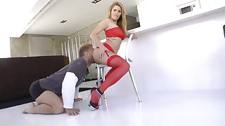 lad nearby sexy red lingerie Hanna Montada making out Nacho Vidal