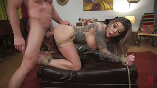 Submissive tattooed bitch Karma Rx gets will not hear of pussy fucked and punished
