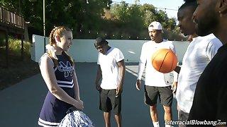 Black basketball team fucks deep throat be worthwhile for white cheerleader Arietta Adams