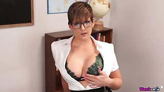 Busty teacher Hannah Brooks gives a blowjob plus gets facial in hot pov chapter