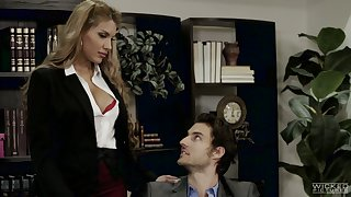 Brashness watering secretary Mercedes Carrera is making adulate with handsome boss