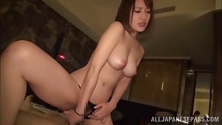 Gorgeous Japanese moves her moonless panties for friend's hard cock