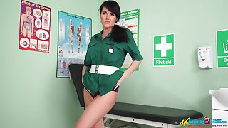 Slutty nurse in uniform Shelly shows striptease in the hospital