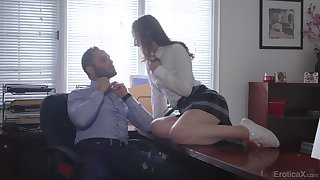 Office sex beyond the table respecting attractive darling Danni Rivers