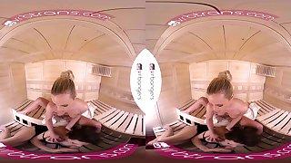 VRB TRANS Valentine's threesome with three hot babes in sauna VR Porn