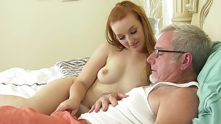 Venerable guy puts his Hawkshaw in niggardly pussy of a redhead bungling babe