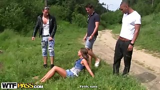 Naughty, suntanned stunner with puny cupcakes, Zaza La Coquine Louise had gang fuck-a-thon with demented mates