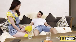 Nympho stepsister Jessy is craving for coition with her stepbrother