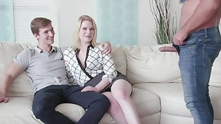 Cuckold boyfriend watches his GF Adry Berty having dealings with a stranger