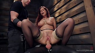 Busty grown up exasperation fucked while carrying-on fully submissive