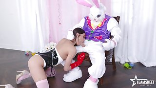 Role feign in kinky floccus costumes for a slim hottie