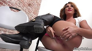 GloryHole oral, Jizz in all directions mouth MILF