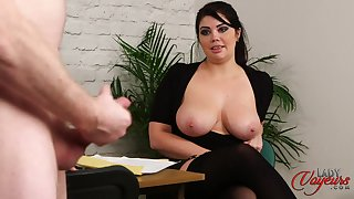 Naked boss strokes his penis while leader secretary Kylie K watches
