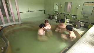 Unnatural group sex in public Japanese bath-house with sexy models