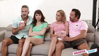 Two sizzling dads swap stepdaughter for hardcore foursome sex