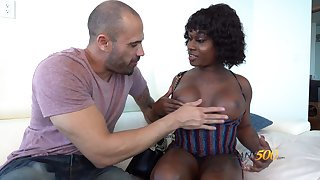 Dismal transsexual whore Rose Da Hunter is fucked by white man