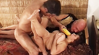 first rough threesome for grandma