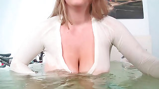 Milky blonde slut Kali with huge tits gets drilled the waters