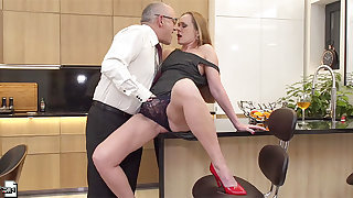 Mature MILF in high heels Nika pounded doggy style in the scullery