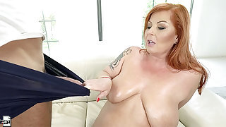 Redhead MILF Tammy Jean ass fucked hard and takes a facial cum shot