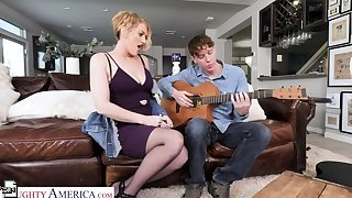 Eve Laurence will teach a sex lesson to rub-down the guitar teacher